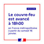 Couvre-feu à 18h00 en France à partir du samedi 16 janvier