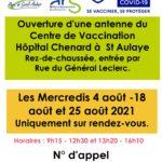 St Aulaye : Une antenne du centre de vaccination est mise en place au centre hospitalier